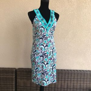 Tracy Negoshian Teal White Print Tank Dress Bright